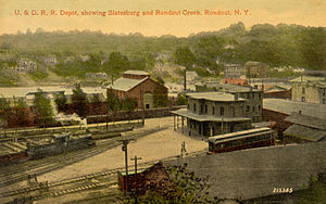 Ulster and Delaware Railroad - The railroad yard at Rondout