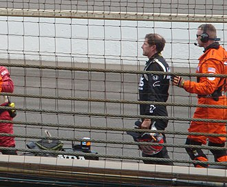 2008 Indianapolis 500 - Marty Roth (in black) after exiting his damaged car.