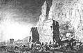 Ruins of Temple B700 of Jebel Barkal with relief of Senkamanisken clubbing enemies, drawn in 1821.jpg