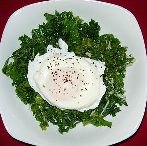 Rustic Kale Salad With Poached Egg