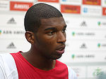 Ryan Babel at a post-game press event for Ajax.