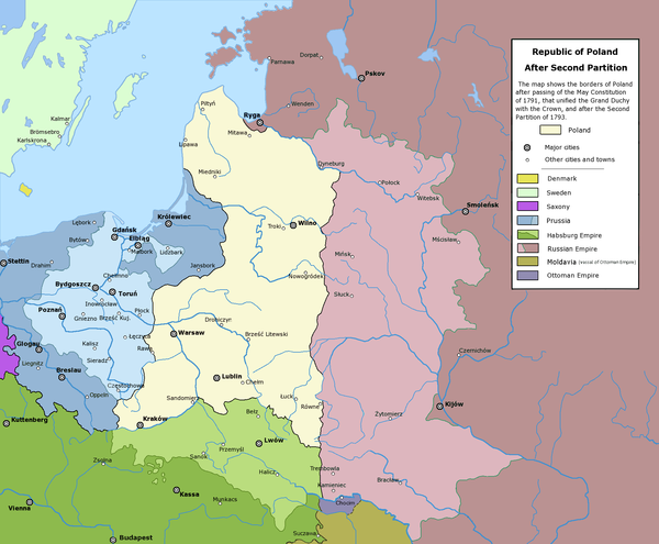 The Polish-Lithuanian Commonwealth after the Second Partition (1793) Rzeczpospolita Rozbiory 2.png
