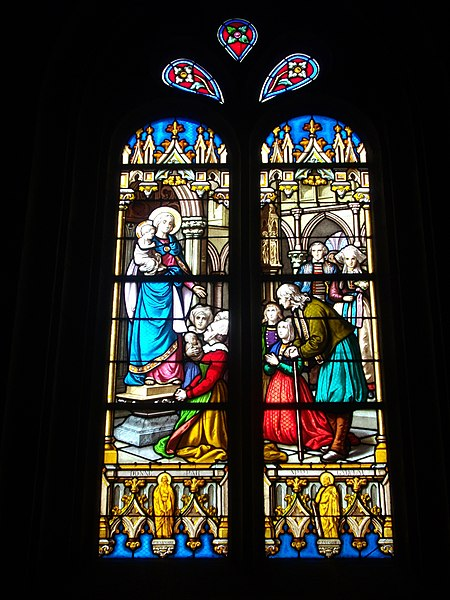Saint Peter church of Sérent (Morbihan, France). Stained glass window: Madonna and Child
