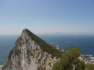 Vandal Kingdom - View from the Gibraltar strait to North Africa where the Vandals crossed into Africa.