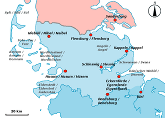 Southern Schleswig - Southern Schleswig (with German, Danish and North Frisian place names)