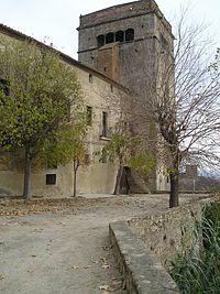 Monasterio de Sant Jeroni de la Murtra con la torre de defensa.
