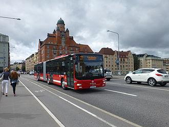 Storstockholms Lokaltrafik - Keolis-owned articulated MAN Lion's City bus with SL branding