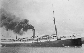 The Oregon Railroad and Navigation Company's new steamship, the Columbia, was the first commercial application for Edison's incandescent light bulb in 1880. SS Columbia Undated Photograph.png
