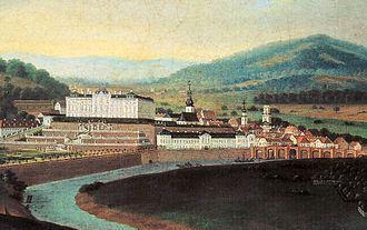 Saarbrücken Castle - View of the castle and town of Saarbrücken in 1770