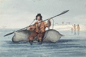 George Francis Lyon - Sadlermiut (?) Inuit of Southampton Island offer gifts to the crew of Capt. Lyon's HMS Griper on 27 August 1824