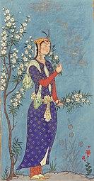 Safavid-dynastie, Vrouw met een tros bloemen, circa 1575 AD.jpg
