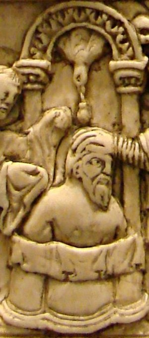 Clovis I - Baptism of Clovis, ivory book cover, 9th century