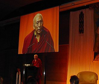 Central Tibetan Administration - The former Chairman of the Cabinet of the CTA, Samdhong Rinpoche, addresses a fundraising dinner in Sydney, Australia, February 2006