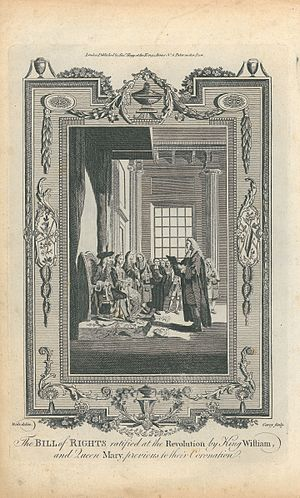 Bill of Rights 1689 - An 18th-century engraving, based on a drawing by Samuel Wale, of the Bill of Rights being presented to William III and Mary II