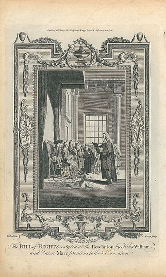 Bill of Rights 1689 - An 18th century engraving, based on a drawing by Samuel Wale, of the Bill of Rights being presented to William III and Mary II