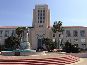 San Diego County Administration Center - The center with the statue Guardian of Water in the foreground