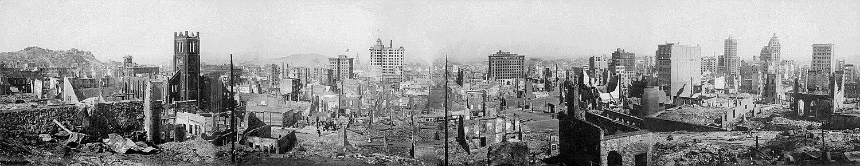 Սան Ֆրանցիսկո քաղաքի ավերակները 1906 թ. երկրաշարժից հետո։