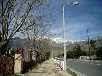 Alta Loma, Rancho Cucamonga, California - Snow-capped San Gabriel Mountains above Alta Loma as seen from Sapphire Street and Thoroughbred Street.