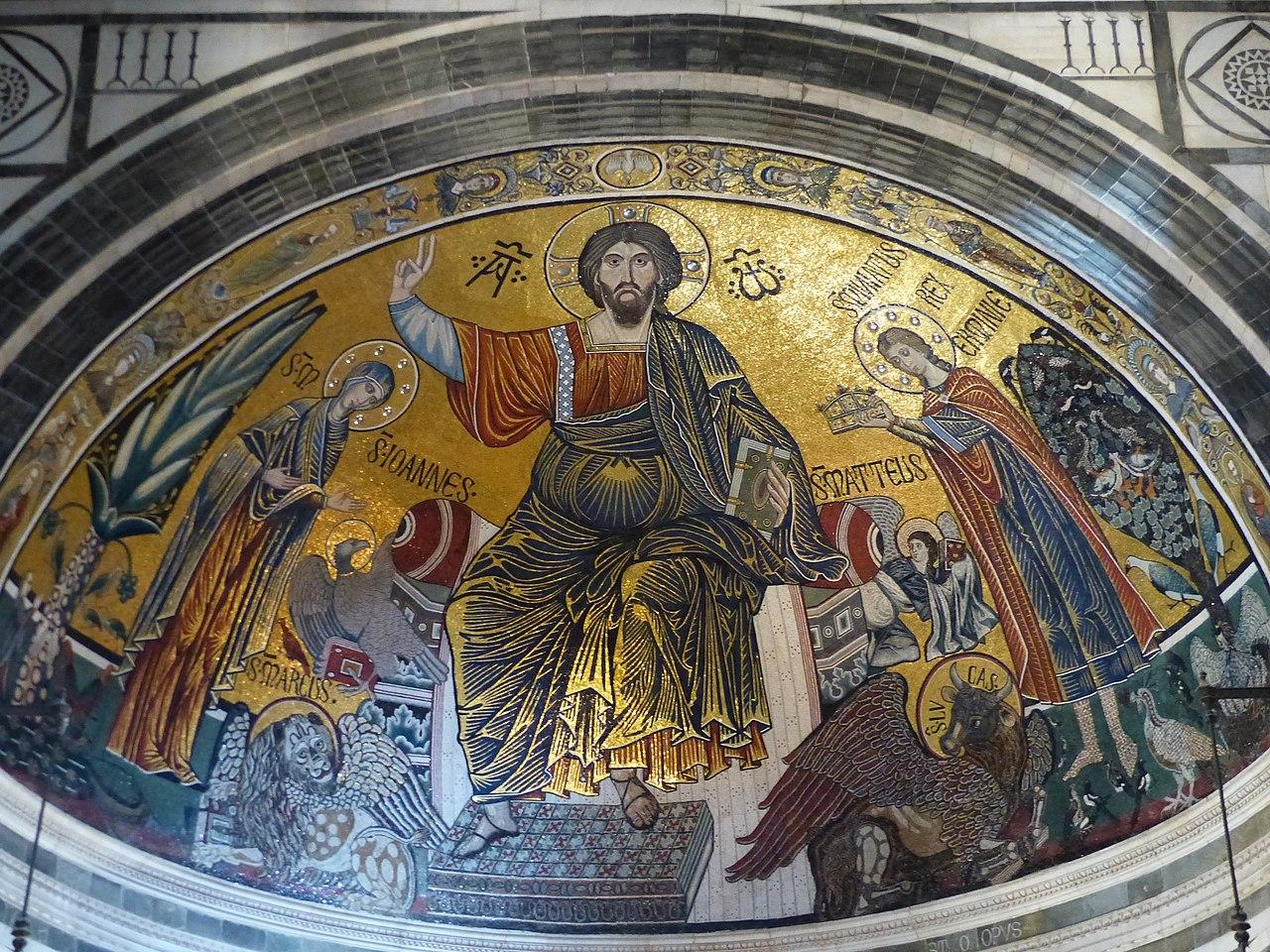 San Miniato al Monte, Mosaico absidale con Santa Maria, il Cristo Pantokrator e San Miniato, (het mozaïek van Cristo Pantokrator, de Heilige Maagd en Sint-Minias)