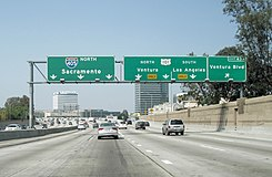 The San Diego Freeway, close to the interchange with the Ventura Freeway, on one of the rare days when it is not congested.