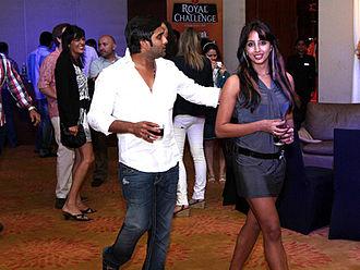 Sanjjanaa - Sanjjanaa at a Celebrity Cricket League party in 2012