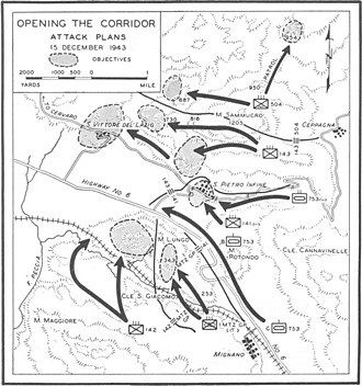 Battle of San Pietro Infine - Final Allied assault on and through the first segment of the German Winter Line at San Pietro Infine 15 December 1943.