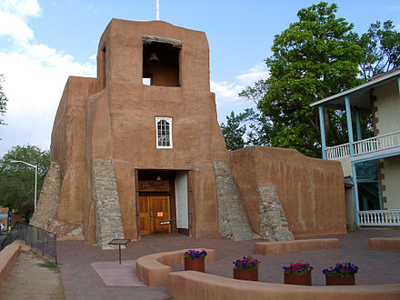 San Miguel Chapel in Santa Fe is said to be the oldest standing church structure in the U.S. The adobe walls were constructed around A.D. 1610. Santa Fe San miguel chapel.jpg