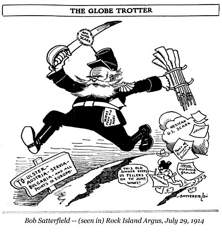 "Cartoon titled ""The Globe Trotter"" in U.S. newspaper Rock Island Argus on 29 July 1914 depicting ""General War Scare"" running from resolved U.S.-Mexico tension to ""all points in Europe"" Satterfield cartoon about war scares in Europe.jpg"