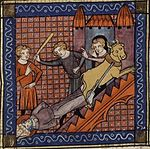 The Martyrdom of Saint Saturnin, from a 14th-century manuscript