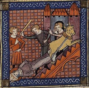 Saturnin - The Martyrdom of Saint Saturnin, from a 14th-century manuscript