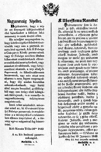Franz Schlik - Schlik's proclamation to the Hungarians