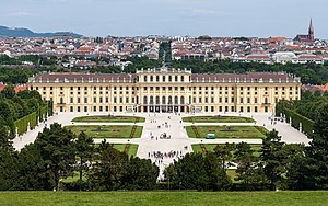 Tourist attractions in Vienna - Schönbrunn Palace and the city of Vienna, view from Gloriette