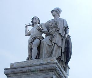 Athena Teaches the Young Man How to Use a Weapon - The sculpture in 2007