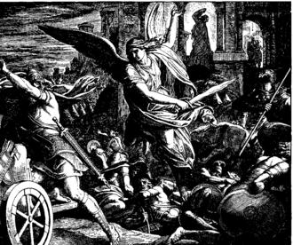 The Destruction of Sennacherib - Jerusalem Delivered from Sennacherib, 1860 woodcut by Julius Schnorr von Karolsfeld