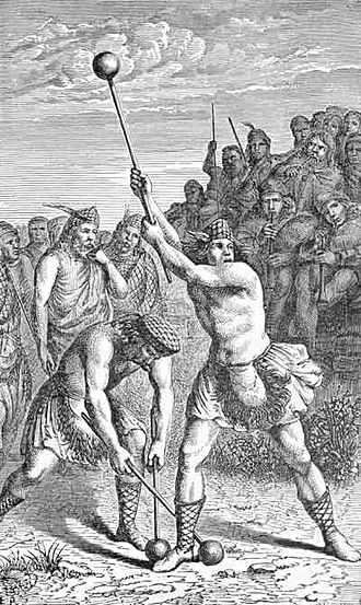 """Hammer throw - Scottish hammer throw illustration from Frank R.Stockton's book """"Round-about Rambles in Lands of Fact and Fancy"""""""
