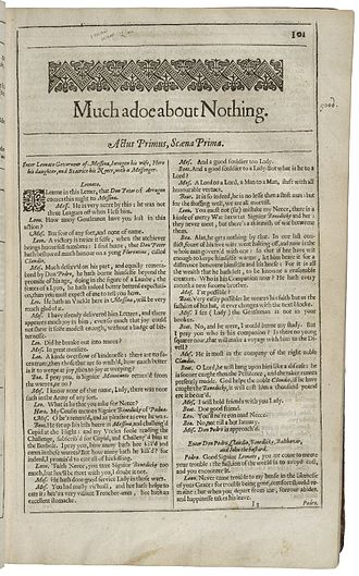 Much Ado About Nothing - The first page of Much Ado About Nothing, printed in the Second Folio of 1632