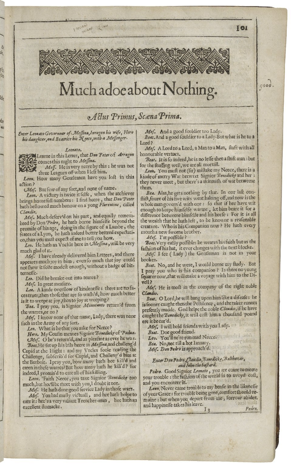 Second Folio Title Page of Much Ado About Nothing