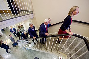 Ballou Hall - Image: Secretary Kerry Climbs Stairs With European Counterparts at Tufts University in Massachusetts (29866323636)
