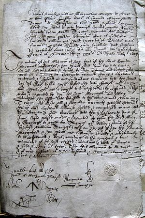 Secretary hand - Covenant bond from 1623 written in Latin and English