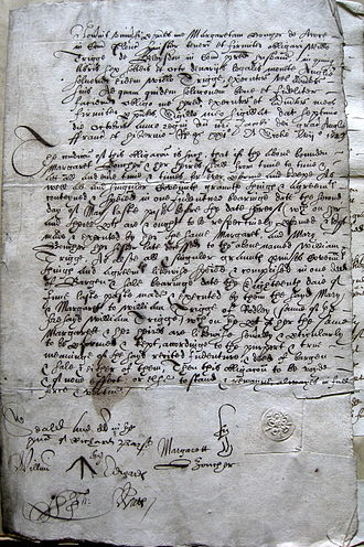 Archival research - Bond dated 1623, written in secretary hand, in a combination of Latin and English, and in technical legal terminology.
