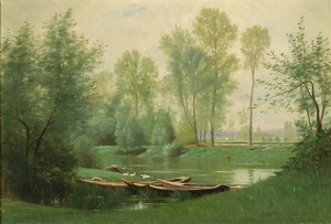 "Ernest Wadsworth Longfellow - ""The Seine"", c. 1880, by Ernest Longfellow (Museum of Fine Arts, Boston)"