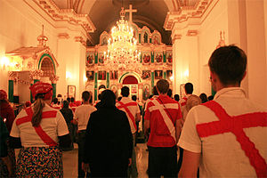 Nashi (youth movement) -  Nashi members in a Russian Orthodox temple.
