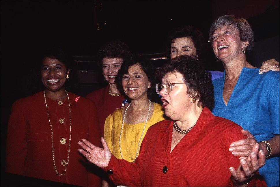 Senator Barbara Mikulski standing with women senatorial candidates (left to right) Carol Moseley-Braun, Barbara Boxer, Senator Patty Murray and others at 1992 Democratic National Convention, Madison Square Garden, New York City