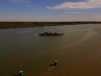 Senegambia bridge - Image: Senegambia Bridge Heavy Vehicle Ferry 23January 2019