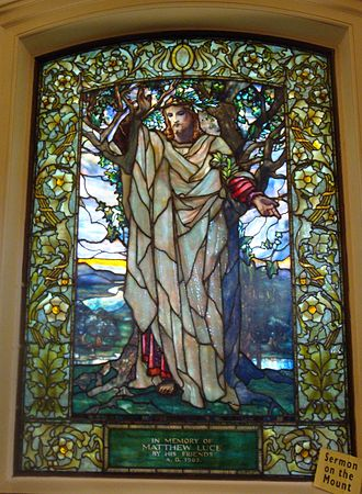 Sermon on the Mount - The Sermon of the Mount as depicted by Louis Comfort Tiffany in a stained glass window at Arlington Street Church in Boston
