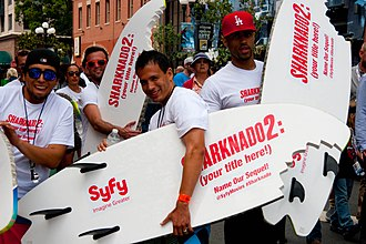 Sharknado 2: The Second One - Promoters of Sharknado 2 at the San Diego Comic Con International in 2013