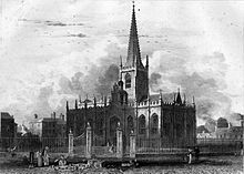 engraving of exterior of church, showing spire and grounds