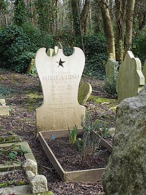Sheila Gish - Gravestone of Sheila Gish, Highgate Cemetery, London