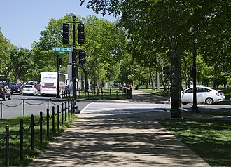 Constitution Avenue - The width of Constitution Avenue varied along its length between 1926 and 1933, as shown by the shift in sidewalks at its junction with Henry Bacon Drive NW.