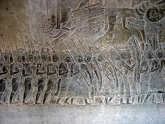 Lavo Kingdom - Image of Siamese mercenaries in Angkor Wat. Later the Siamese would form their own kingdom and become a major rival of Angkor.